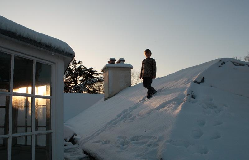Joshy walking on the roof