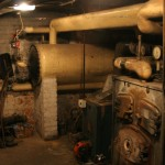 Asbestos lagging on the original heating system