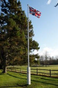 finally the new flag pole was ready and enthusiastic flag flying could begin