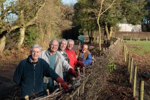 The Crumblies Conservation Group on completing the hedge in Chapel Lane (Dec 2009)