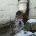 Water frozen in the downpipe