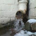 Water frozen in the downpipe
