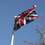 Flag flying on flag pole