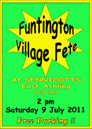 Funtington Fete at Sennicotts. Saturday 9th July at 2pm.